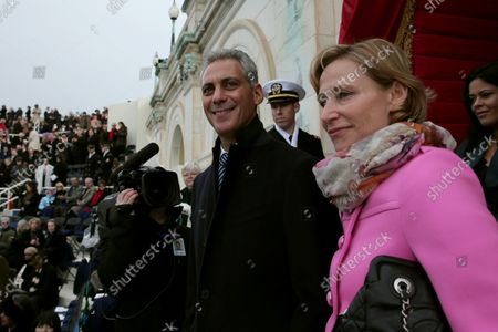 Chicago Mayor Rahm Emanuel and wife Amy Rule arrive  arrive at the West Front of the U.S. Capitol before the presidential inauguration on the West Front of the U.S. Capitol January 21, 2013 in Washington, DC.  Barack Obama was re-elected for a second term as President of the United States.