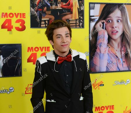 """Actor Jimmy Bennett, a cast member in the motion picture comedy """"Movie 43"""", attends the premiere of the film at the TCL Chinese Theatre  in the Hollywood section of Los Angeles on January 23, 2013."""