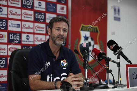 The coach of the Panamanian national team, Thomas Christiansen, speaks during a press conference at the headquarters of the Panamanian Football Federation (FEPAFUT) in Panama City, Panama, 25 August 2021. Christiansen defined this Wednesday the list of 28 players to face the start of the Concacaf qualifiers towards the Qatar 2022 World Cup. In this new call, the names of players who would have their first minutes in the process to Qatar stand out, such as: Fidel Escobar, Jiovany Ramos, Azmahar Ariano, Oscar Linton, Romeesh Ivey, Ivan Anderson, Jorge Gutierrez, Rolando Blackburn and Alfredo Stephens.