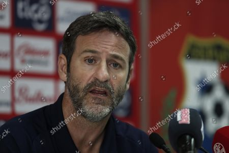 Stock Image of The coach of the Panamanian national team, Thomas Christiansen, speaks during a press conference at the headquarters of the Panamanian Football Federation (FEPAFUT) in Panama City, Panama, 25 August 2021. Christiansen defined this Wednesday the list of 28 players to face the start of the Concacaf qualifiers towards the Qatar 2022 World Cup. In this new call, the names of players who would have their first minutes in the process to Qatar stand out, such as: Fidel Escobar, Jiovany Ramos, Azmahar Ariano, Oscar Linton, Romeesh Ivey, Ivan Anderson, Jorge Gutierrez, Rolando Blackburn and Alfredo Stephens.