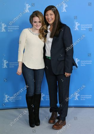 """Fallon Goodson (L) and Catherine Keener arrive at the photo call for the film """"Maladies"""" during the 63rd Berlinale Film Festival in Berlin on February 10, 2013."""