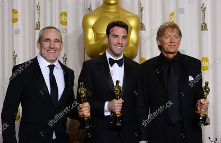 """Andy Nelson, Mark Paterson and Simon Hayes hold their Oscars for best Achievement in Sound Mixing - """" Les Miserables"""" backstage at the 85th Academy Awards at the Hollywood and Highlands Center in the Hollywood section of Los Angeles on February 24, 2013."""