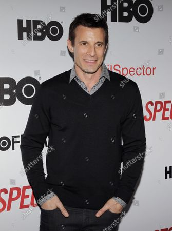 Stock Picture of AJ Hammer arrives at the premiere of Phil Spector at the Time Warner Center in New York City on March 13, 2013.