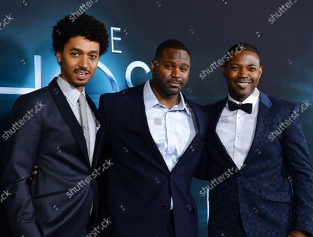 """Cast members Shawn Carter Peterson, Mustafa Harris and Stephen Rider (L-R) attend the premiere of the motion picture sci-fi thriller """"The Host"""",  at the ArcLight Cinerama Dome in the Hollywood section of Los Angeles on March 19, 2013."""