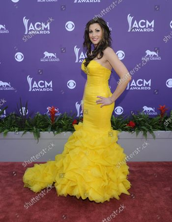 Singer Danielle Peck arrives at the 48th annual Academy of Country Music Awards at the MGM Hotel in Las Vegas, Nevada on April 7, 2013.