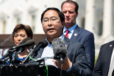 U.S. Representative Andy Kim (D-NJ) speaking at a press conference where members of the House Foreign Affairs Committee called for the safe withdrawal of Americans and Afghanistan citizens who worked with Americans and their families.
