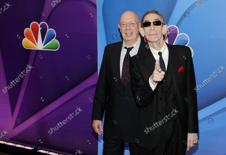 Dann Florek and Richard Belzer arrive on the red carpet at the 2013 NBC Upfront Presentation at Radio City Music Hall in New York City on May 13, 2013.