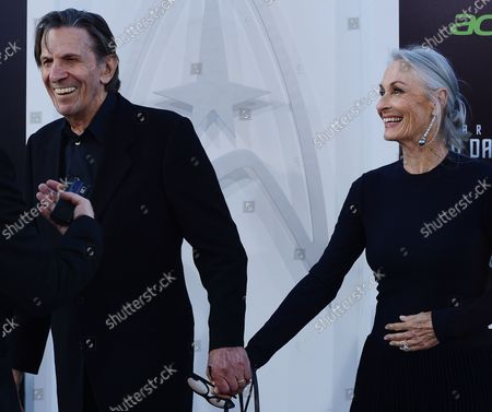 """Leonard Nimoy and wife Susan Bay arrive for the """"Star Trek Into Darkness"""" premiere at the Dolby Theater in the Hollywood section of Los Angeles on May 14, 2013."""