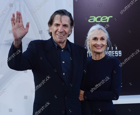 """Leonard Nimoy, a cast member in the sci-fi motion picture """"Star Trek Into Darkness"""" , attends the premiere of the film with his wife Susan Bay at the Dolby Theatre in the Hollywood section of Los Angeles on May 14, 2013."""