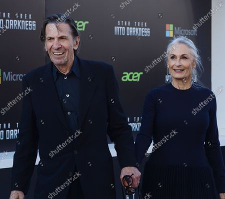 """Stock Photo of Leonard Nimoy, a cast member in the sci-fi motion picture """"Star Trek Into Darkness"""", attends the premiere of the film with his wife Susan Bay at the Dolby Theatre in the Hollywood section of Los Angeles on May 14, 2013."""