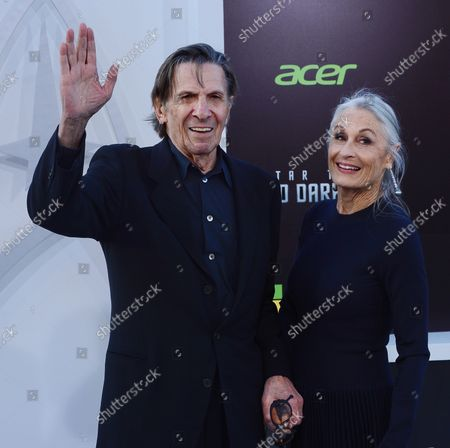 """Stock Picture of Leonard Nimoy, a cast member in the sci-fi motion picture """"Star Trek Into Darkness"""" , attends the premiere of the film with his wife Susan Bay at the Dolby Theatre in the Hollywood section of Los Angeles on May 14, 2013."""