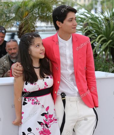 """Andrea Vergara (L) and Armando Espitia arrive at a photocall for the film """"Heli"""" during the 66th annual Cannes International Film Festival in Cannes, France on May 16, 2013."""