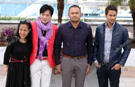 """(From R to L) Sam Milby, Adolfo Alix Jr., Jacky Woo and unidentified arrive at a photo call for the film """"Death March"""" during the 66th annual Cannes International Film Festival in Cannes, France on May 19, 2013."""