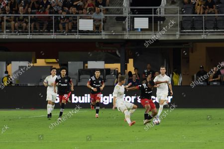 DC United Attacker Edison Flores and Atlanta United Midfielder Amar Sejdic fight the ball during the match DC United vs Atlanta United  today on August 21, 2021 at Audi Field in Washington DC, USA.