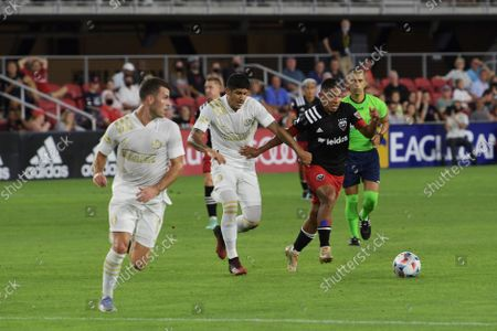 DC United Attacker Edison Flores and Atlanta United Defender Alan Franco fight the ball during the match DC United vs Atlanta United  today on August 21, 2021 at Audi Field in Washington DC, USA.
