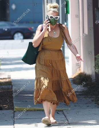 Editorial image of Busy Philipps chats on the phone, Los Angeles, California, USA - 25 Aug 2021