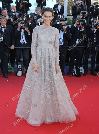 """Saadet Aksoy arrives on the red carpet before the screening of the film """"La Venus a la fourrure (Venus In Fur)"""" during the 66th annual Cannes International Film Festival in Cannes, France on May 25, 2013."""