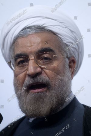 Moderate presidential candidate and former top nuclear negotiator Hassan Rohani delivers a speech during his presidential campaign rally in Tehran, Iran on May 30, 2013.  The United States has questioned the credibility of Iran's June 14th election due to the disqualification of former president Akbar Hashemi Rafsanjani and reform candidates Mir Hossein Mousavi and Mehdi Karroubi, who remain under house arrest following the elections in 2009.