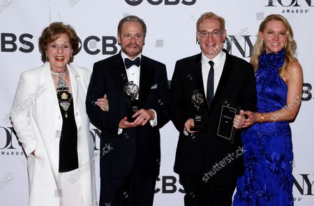 Producers Fran Weissler, Barry Weissler, Howard Kagan, and Janet Kagan, winners of the award for Best Revival of a Musical for 'Pippin,'arrive in the pressroom at the 67th Annual Tony Awards held at Radio City Music Hall on June 9, 2013 in New York City.