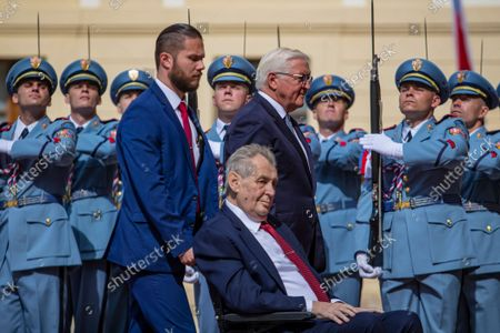 Czech President Milos Zeman (L) and German President Frank-Walter Steinmeier (R) inspect guards of honor at Prague Castle in Prague, Czech Republic, 26 August 2021.