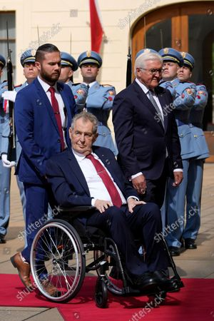 Stock Picture of Czech Republic's President Milos Zeman, in wheelchair, welcomes his German counterpart Frank-Walter Steinmeier, right, at the Prague Castle in Prague, Czech Republic