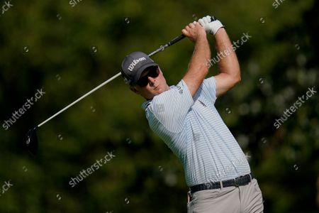 Kevin Streelman tees off on the second hole during the first round of the BMW Championship golf tournament, at Caves Valley Golf Club in Owings Mills, Md