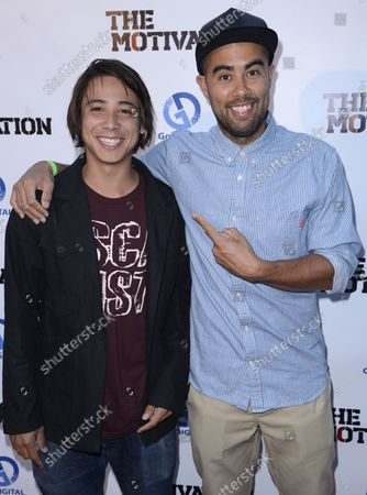 """Stock Image of Skateboarders Sean Malto (L) and Eric Koston attend the premiere of the film """"The Motivation"""" at the Arclight Theatre in the Hollywood section of Los Angeles on July 30, 2013."""