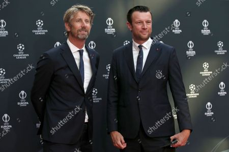 Stock Photo of Former player and Ajax CEO Edwin van der Sar, left, arrives for the soccer Champions League draw in Istanbul, Turkey