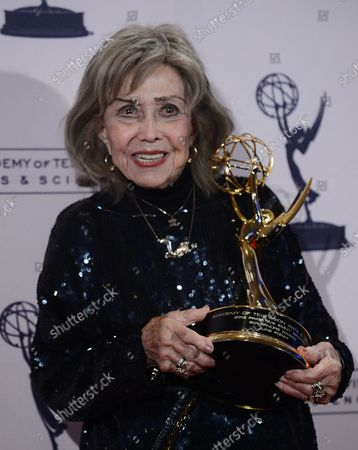 June Foray wins the Governor's Award at the 2013 Primetime Creative Arts Emmy Awards at the Nokia Theatre L.A. LIVE in Los Angeles on September 15, 2013.  The Primetime Emmy Awards are presented by the Academy of Television Arts & Sciences in recognition of excellence in American primetime television.