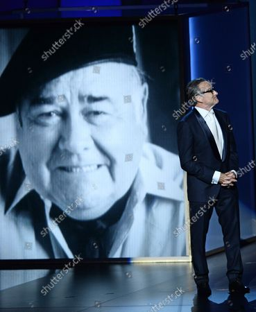 Stock Image of Comedian and actor Robin Williams delivers a memorial presentation for Jonathan Winters at the 65th annual Primetime Emmy Awards at Nokia Theatre in Los Angeles on September 22, 2013.
