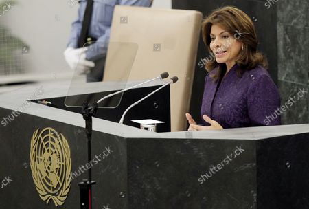 President of the Republic of Costa Rica Laura Chinchilla Miranda addresses the United Nations General Debate at the 68th United Nations General Assembly in the UN building in New York City on September 24, 2013.