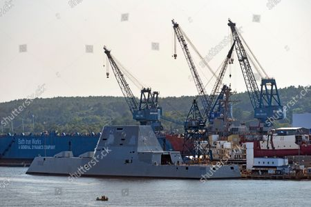 Stock Image of The USS Lyndon B. Johnson, a Zumwalt-class destroyer, remains at the dock at Bath Iron Works on the Kennebec River, in Bath, Maine. The Navy ship had to postpone its scheduled departure for builder trials on the Atlantic Ocean on Thursday