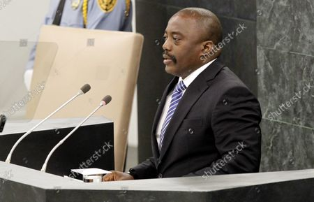 Joseph Kabila Kabange, President of the Democratic Republic of the Congo, addresses the United Nations General Debate at the 68th United Nations General Assembly in the UN building in New York City on September 25, 2013.