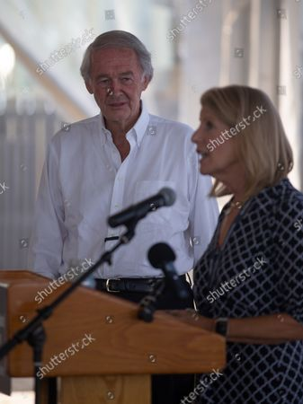 US Senator Edward Markey (L) listens as New England Aquarium CEO Vikki Spruill (R) speaks during a Climate Action Discussion at the New England Aquarium in Boston, Massachusetts, USA, 26 August 2021. Markey discussed the need for urgent climate action, including passing the 3.5 trillion dollars (2.97 trillion euros) budget reconciliation package in Congress.