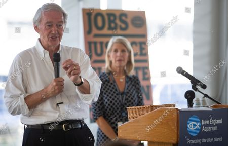 US Senator Edward Markey (L) addresses an audience as New England Aquarium CEO Vikki Spruill (R) listens, during a Climate Action Discussion at the New England Aquarium in Boston, Massachusetts, USA, 26 August 2021. Markey discussed the need for urgent climate action, including passing the 3.5 trillion dollars (2.97 trillion euros) budget reconciliation package in Congress.