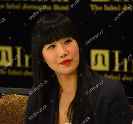 """American actress Vivian Bang of the television series """"Sullivan & Son"""" takes part in a press conference about her experience in Israel, at the Inbal Hotel in Jerusalem, Israel, October 6, 2013. Bang is part of a delegation of American film and television actors who are visiting Israel with """"America's Voices in Israel""""."""