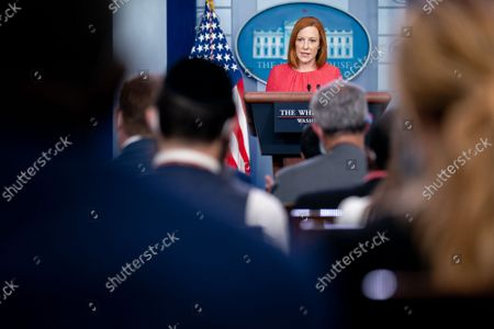White House Press Secretary Jen Psaki speaks to reporters in the James S. Brady Press Briefing Room of the White House in Washington, DC. Multiple explosions near Hamid Karzai International Airport in Kabul, Afghanistan wounded many and killed at least 12 American service members.