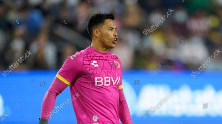 Stock Image of Liga MX All-Stars goalkeeper Alfredo Talavera (12) stands near the goal during the second half of the the MLS All-Star soccer match, in Los Angeles