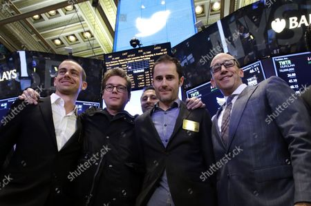 Twitter co-founder Jack Dorsey, Twitter co-founder Biz Stone, Twitter co-founder Evan Williams and Twitter CEO Dick Costolo stand on the floor of the NYSE after shares of Twitter are traded for the first time at the New York Stock Exchange on Wall Street In New York City on November 7, 2013. The NYSE Euronext staged a first-ever weekend test for the initial public offer two weeks ago to avoid reprising the problems with rival Nasdaq's systems that delayed timely orders and ruined Facebook's debut on Wall Street.