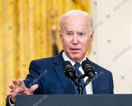 President Joe Biden speaks at the White House East Room about the terror attack at Hamid Karzai International Airport in Kabul, Afghanistan, and the U.S. service members and Afghan victims killed and wounded in the attack.