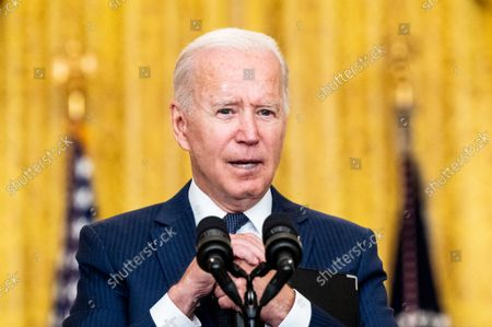 Stock Picture of President Joe Biden speaks at the White House East Room about the terror attack at Hamid Karzai International Airport in Kabul, Afghanistan, and the U.S. service members and Afghan victims killed and wounded in the attack.