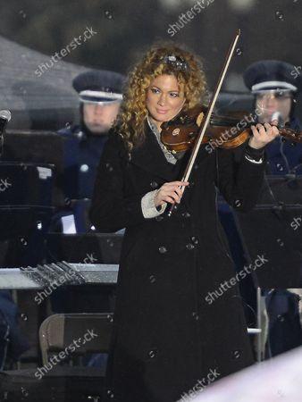 Miri Ben-Ari, Grammy-Award winning violinist, performs at the lighting of the National Menorah celebrating Chanukah on the Ellipse near the White House in Washington, D.C. on Wednesday, November 27, 2013.