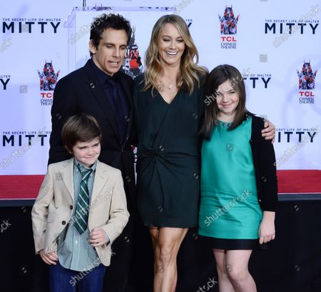 Actor Ben Stiller is joined by his wife, actress Christine Taylor and their son Quinlin Stiller and daughter Ella Stiller during his hand and footprint ceremony in the forecourt of the TCL Chinese Theatre (formerly Grauman's) in the Hollywood section of Los Angeles on December 3, 2013.