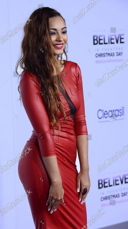 """Singer Jessica Jarrell attends the premiere of """"Justin Bieber's Believe'"""", a backstage and on stage memoir concert film that documents his rise to super stardom, at Regal Cinemas in Los Angeles on December 18, 2013."""