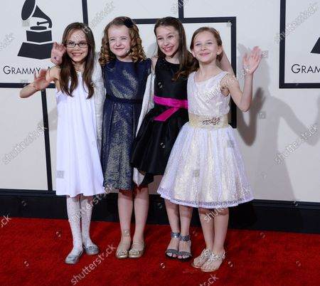 Stock Picture of (L-R) Actresses Oona Laurence, Milly Shapiro, Bailey Ryon and Sophia Gennusa arrive for the 56th annual Grammy Awards at Staples Center in Los Angeles on January 26, 2014.