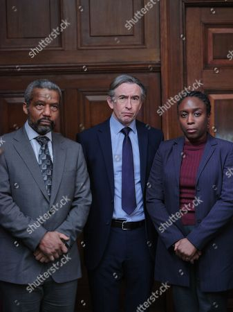 Sharlene Whyte as Doreen Lawrence, Steve Coogan as Clive Driscoll and Hugh Quarshie as Neville Lawrence.
