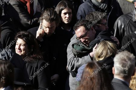 Stock Image of Ethan Hawke exits the funeral of Philip Seymour Hoffman at St. Ignatius Church on Manhattan's Upper East Side in New York City on February 7, 2014. Hoffman, 46, was found dead Sunday of an apparent heroin overdose in his apartment. He leaves behind his partner of 15 years, Mimi O'Donnell, and their three children.