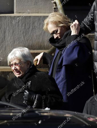 Meryl Streep exits the funeral of Philip Seymour Hoffman at St. Ignatius Church on Manhattan's Upper East Side in New York City on February 7, 2014. Hoffman, 46, was found dead Sunday of an apparent heroin overdose in his apartment. He leaves behind his partner of 15 years, Mimi O'Donnell, and their three children.