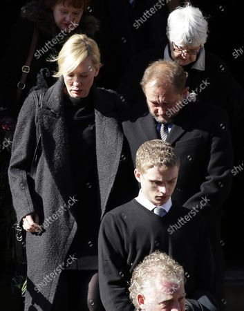 Cate Blanchett and Andrew Upton exit the funeral of Philip Seymour Hoffman at St. Ignatius Church on Manhattan's Upper East Side in New York City on February 7, 2014. Hoffman, 46, was found dead Sunday of an apparent heroin overdose in his apartment. He leaves behind his partner of 15 years, Mimi O'Donnell, and their three children.