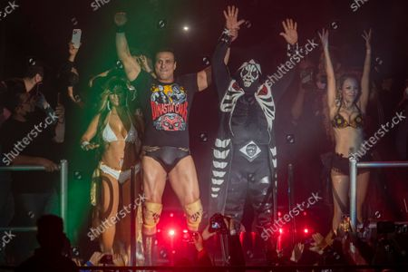 Wrestlers Alberto Del Rio and L.A Park in action during the wrestling show 'Hecho en México' by Patron Robles Promotions at Pepsi Center.